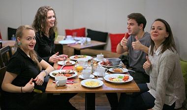sophies hostel prague breakfast area
